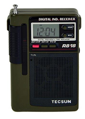 Traveler Pocket Alarm - Tecsun R818 Portable 8-Band AM/FM Shortwave Pocket Radio with Digital Alarm Clock
