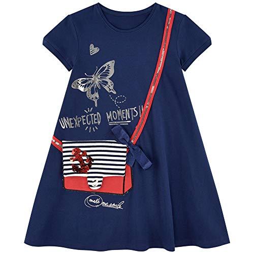 HILEELANG Toddler Girl Casual Active Short Sleeve Casual Cotton Applique Tunic Shirt ()