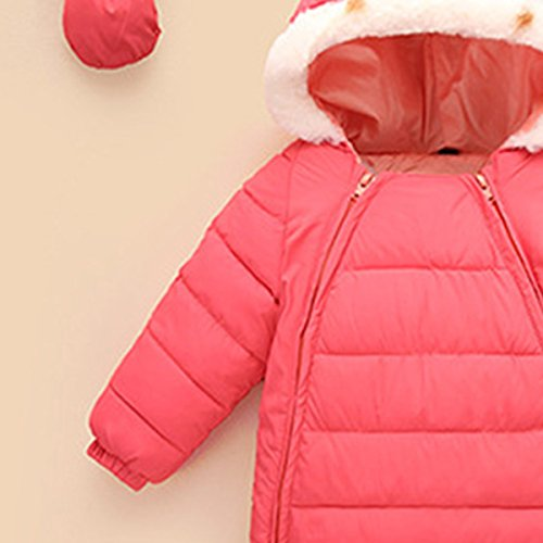 Romper Down 48 Jumpsuit Hooded Winter Warm Snowsuit Outerwear Happy Jacket Pink Cherry Thick 6 Months Puffer Baby Wc4xUE6S