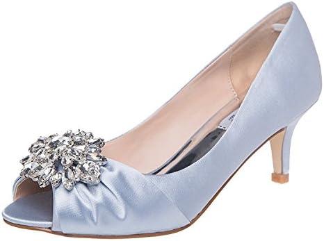 SheSole Womens Low Heel Dress Pumps Rhinestone Peep Toe