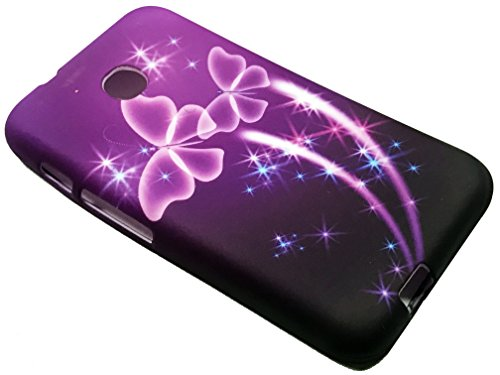 For TracFone Alcatel Pixi Unite A466BG Soft Flexi TPU Skin Protective Case Phone Cover + Gift Stand (TPU Purple Butterfly)