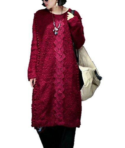 Women's Linen Caftan Ethnic Evening Dress (Red) - 3