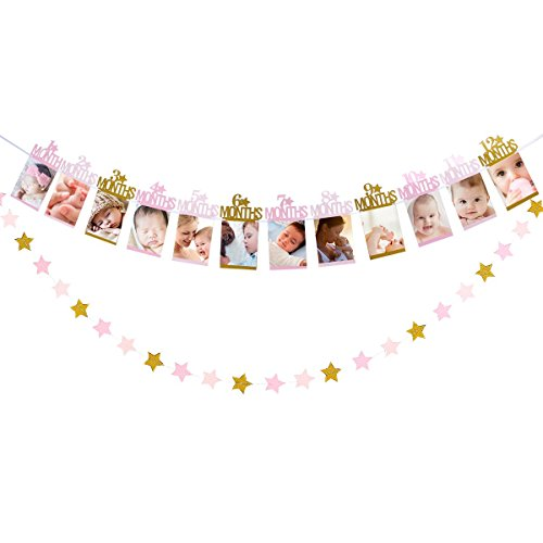 1st Birthday Baby Photo Banner Baby 1-12 Month Photo Prop Party Bunting Decoration Supplies