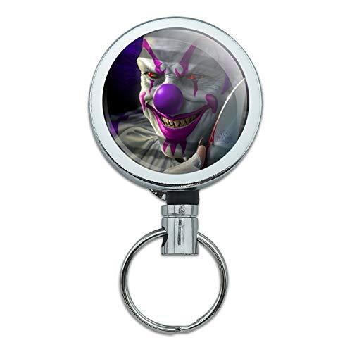 Mischief Belt - Mischief The Evil Purple Clown Heavy Duty Metal Retractable Reel ID Badge Key Card Tag Holder with Belt Clip