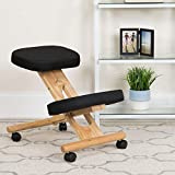 Flash Furniture Mobile Wooden Ergonomic Kneeling Office Chair in Black Fabric, WL-SB-210-GG