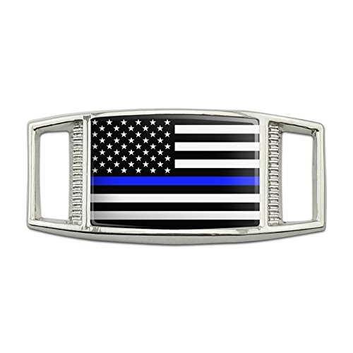 (Thin Blue Line American Flag Rectangular Shoe Shoelace Shoe Lace Tag Runner Gym Charm)