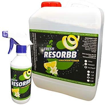 RESORBB® FRESH Anti-Rauch 2,5l. + leere Sprühflasche Dieser wasserlösliche Geruchsneutralisierer eignet sich für glatte Oberflächen und kann auch als Raumspray verwendet werden
