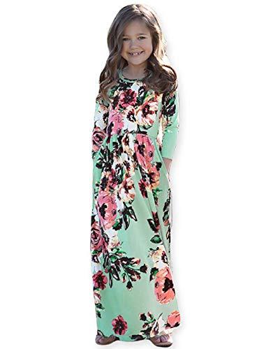 Girls Floral Maxi Dress Kids Fall Casual 3/4 Sleeve T-Shirt Dresses Pocket for Girls,Green,12 Year]()