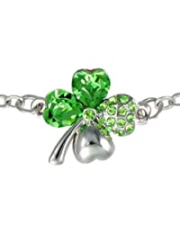 Four Leaf Clover Heart Shaped Swarovski Elements Crystal Rhodium Plated Chain Bracelet