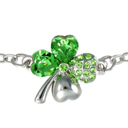 Dahlia Four Leaf Clover Heart Crystal Rhodium Plated Bracelet with Crystals from Swarovski, Green