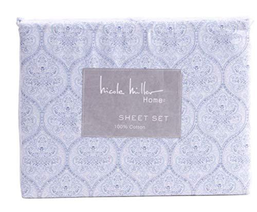 Nicole Miller Medallion Sheet Set Blue White Floral Cotton 4 Pc (King)
