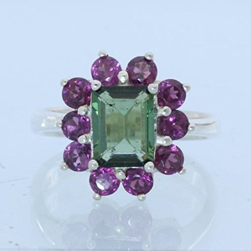 Green Tourmaline Red Purple Rhodolite Garnets Handmade Silver Ladies Ring size 7