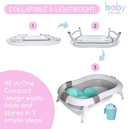 Baby Brielle 3-in-1 Portable Collapsible Infant to Toddler Space Saver Foldable Bath tubs - Anti Slip Skid Proof - with Cushion Insert & Water Rinser for Bathing Newborns by Baby Brielle (Image #4)