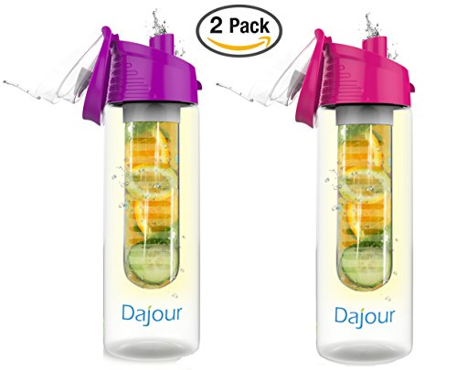 Dajour Fruit Infuser Water Bottle 27 Ounce NO BPA Sports Flavor Infusion Bottle - Plus Recipe Ebook Included (Pink&Purple - 2 Pack)