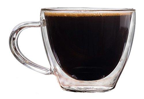Palais Glassware Cafe Espresso Double walled Mugs - Set of 2 (8 Ounces)