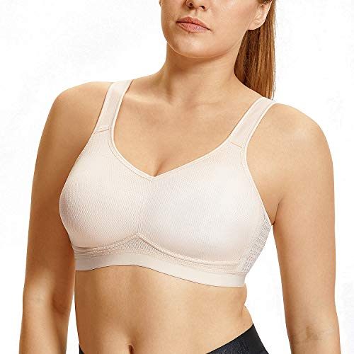 SYROKAN Women's High Impact Support Wirefree Plus Size Sports Bra Beige-New ()