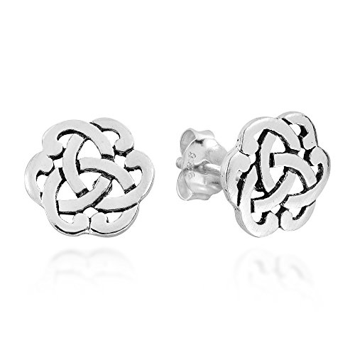 Shiny Earrings Celtic - Interlocking Celtic Knot .925 Sterling Silver Stud Earrings