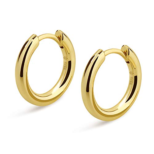 KRKC&CO Hoop Earrings, S925 Sterling Silver Gold Plated White Gold Plated Round Hoop Earrings for Men & Women 12-15 mm (14k Gold, 15) ()