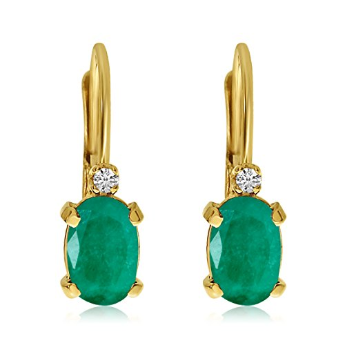 14k-Yellow-Gold-Oval-Emerald-and-Diamond-Leverback-Earrings
