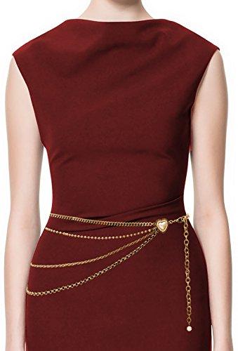 LUNA Womens Premium Hang Low Waist Peart Heart Chain Belt - One Size - Antique Bronze