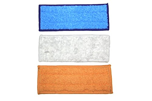Price comparison product image MaximalPower VA Irobot Jet240 MP(3PC Set) Best Selling 3x Braava Jet Color Softness Washable Reusable Wet/Dry Mopping Pads, White/Orange/Blue
