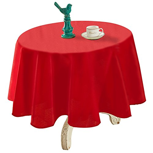 YEMYHOM Spill-Proof Fabric Round Tablecloth for Dining Room, Wedding and Party (60