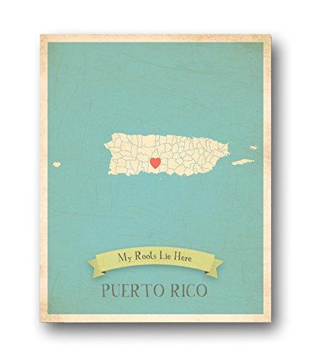 Wall Map, My Roots Puerto Rico Personalized Wall Map 11x14, Kid's Puerto Rico Map Wall Art, Wall Art Print, Nursery Decor, Nursery Wall Art
