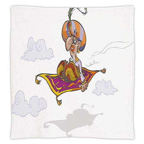 iPrint Super Soft Throw Blanket Custom Design Cozy Fleece Blanket,Arabian,Cartoon Magician Flying on Magic Carpet Sky with Clouds Oriental Persian Fairytale,Multicolor,Perfect for Couch Sofa or Bed by iPrint