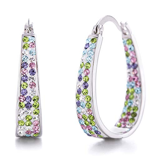 Hoops Crystal Crystal Earrings - Devin Rose Oval Inside Outside Hoop Earrings for Women Made With Pastel Swarovski Crystal in Rhodium Plated Brass (White Multi)
