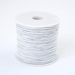 Bingcute 1.0MM White Elastic Cord, 100 Yard (white)