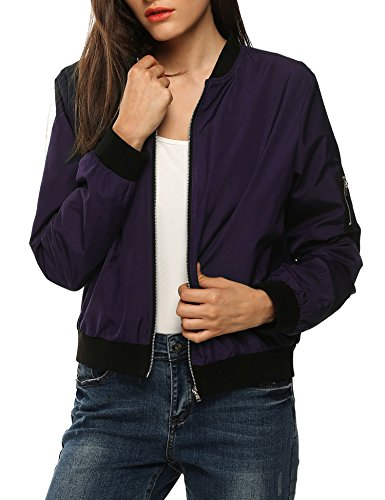 Zeagoo Womens Classic Quilted Jacket Short Bomber Jacket Coa