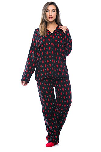 6370-10235-2X #FollowMe Printed Microfleece Button Front PJ Pant Set with Socks,Black - Holiday Tree & Snowflake,2X (Micro Fleece Plush Pants)
