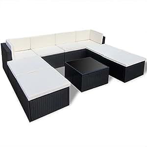 Anself 9piezas al aire libre Patio sofá seccional muebles, color negro