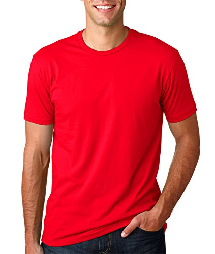 Next Level Mens Premium Fitted Short-Sleeve Crew T-Shirt - Black + Red (2 Pack) - - Sleeve Crew Apparel Short Black