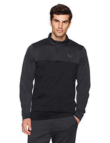 (Peak Velocity Men's Quantum Fleece 1/4 Zip Athletic-Fit Top, dark grey heather/black, Large)