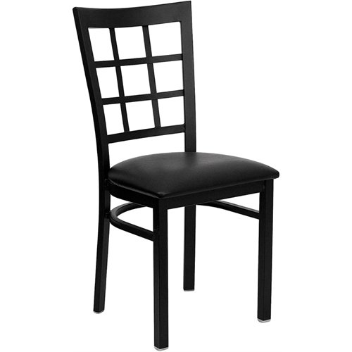 Flash Furniture HERCULES Series Black Window Back Metal Restaurant Chair - Black Vinyl Seat - Curved Back Dining Chair