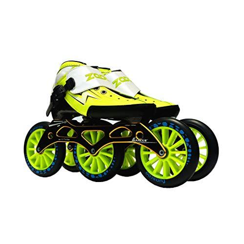ラグ明るくする予約ailj スピードスケート靴3 * 125MM調整可能なインラインスケート、ストレートスケート靴(3色) (色 : Green, サイズ さいず : EU 38/US 6/UK 5/JP 24cm)