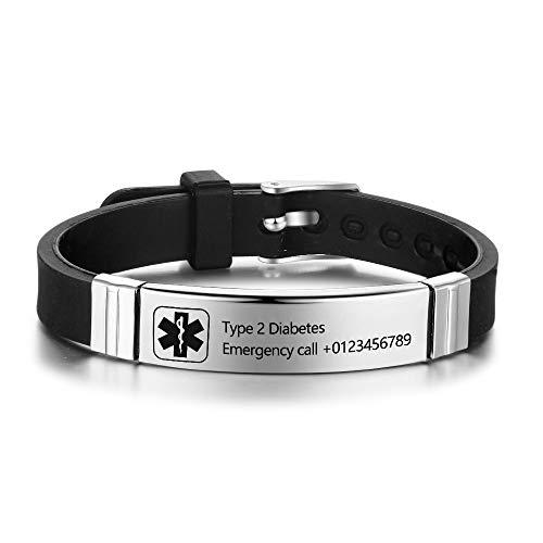 Personalized Medical Alert Bracelets for Men Women Sport Emergency ID Bracelets Adjustable Diabetic ID Bracelets Band for Boys