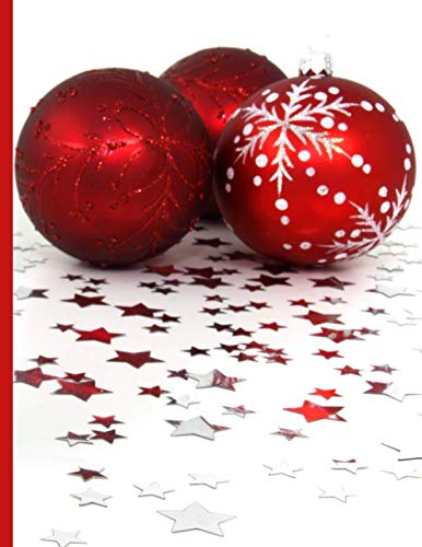 Shopping Notebook ~ Three Red Christmas Ornaments Surrounded by ()