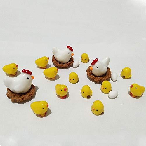 20 Pcs Miniature Fairy Garden Chickens,Plant Pots Bonsai Craft,Chicken Nest Ornament Micro Landscape DIY - Fisherman Chinese Figurine