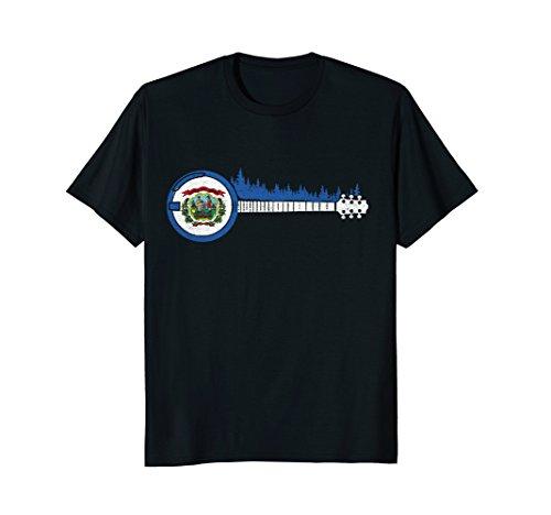 (West Virginia Flag - Bluegrass Trees & Banjo Player T-Shirt)