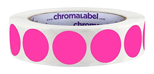 (ChromaLabel 1 inch Color-Code Dot Labels | 1,000/Roll (Fluorescent Pink))