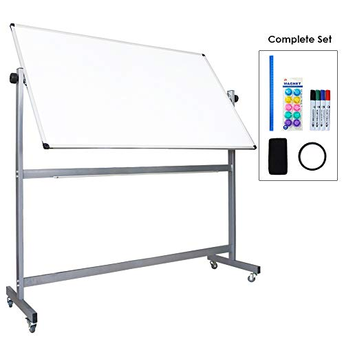 XIWODE Large Double-Sided Magnetic Mobile Whiteboard, Dry Erase Board on Wheels with Rolling Stand, 60 X 36 Inch, Silver Aluminium Frame ()