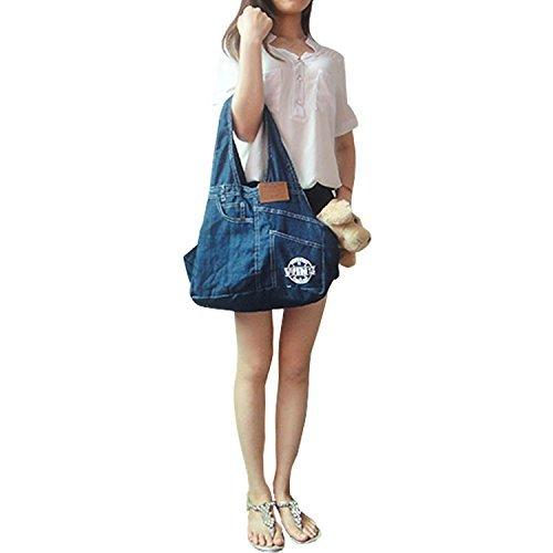 Dogloveit Denim Sling Carrier Bag for Puppy Pet , 21x13x6.7-inch, Blue