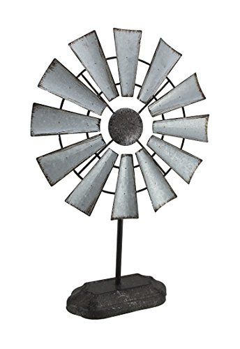Zeckos Metal Statues Distressed Galvanized Finish Metal Tabletop Windmill Decorative Sculpture 13.5 X 19.75 X 13.5 Inches Silver by Zeckos