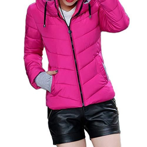 Morbido Rossa Up Fashion Donna In Casual Da Antivento Dritto Rosa Cotone Zip Lunga Aiweijia Giacca Manica Colletto Caldo Cappotto Top Outwear Invernale R54ALj