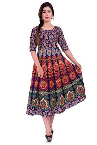 Jaipuri Fashionista Cotton Women's Maxi Long Dress Jaipuri Printed with Atteched Sleeves (Free Size UPTO 44-XXL)