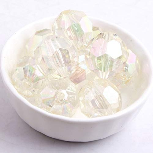 Calvas Wholesales Chunky Acrylic Transparent AB Faceted Beads for Fashion Jewelry Necklace Making 10mm 12mm 16mm 20mm 22mm - (Color: Clear, Item Diameter: 16mm 200pcs per Bag) ()