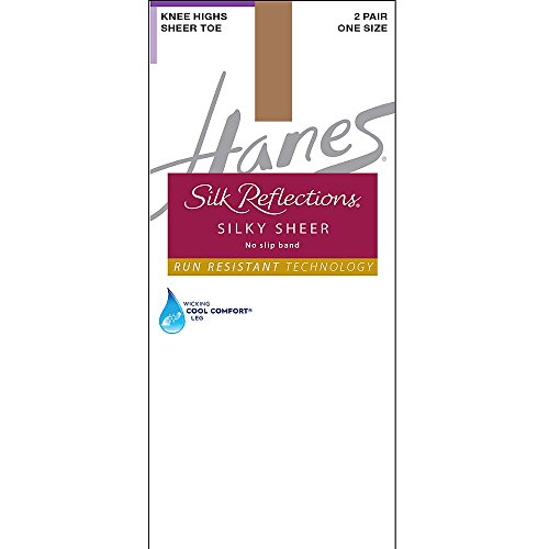 (Hanes Silk Reflections Women's Knee High With No Slip Band, Barely There, One Size)