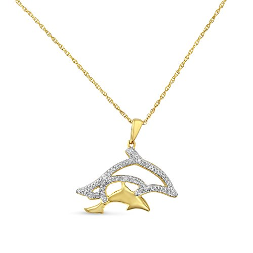 Original Classics Yellow Plated Sterling Silver Round-Cut Diamond Dolphin Pendant Necklace (0.03 cttw, H-I Color, I2-I3 Clarity)